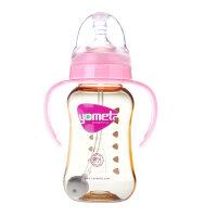 PPSU婴儿宝宝塑料奶瓶标准口径新生儿带手柄吸管防胀气a495 180粉红色(配圆孔)