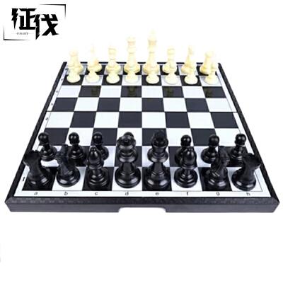 征伐 国际象棋 磁性入门者西洋棋儿童初学者旅游可折叠便携式黑白棋盘国际象棋支持礼品卡!