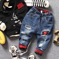 黑蓝2色儿童加绒牛仔裤秋冬男童破洞格子补丁可翻边休闲长裤子