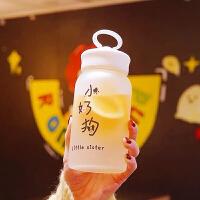 玻璃杯 女生韩版卡通磨砂玻璃杯超萌创意时尚可爱小杯子便携女学生水杯花茶网红家用随手杯