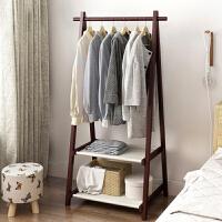 衣帽架 落地实木衣架简易卧室挂衣架简约现代挂包架创意衣架