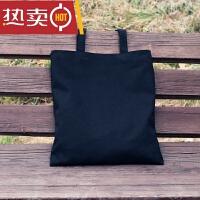 帆布包女单肩手提日ulzzang简约小文艺清新学生书包购物袋SN0447 黑色 空白-黑包