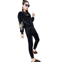 秋冬季新款加厚套装女加绒卫衣休闲时尚两件套潮