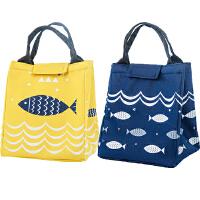 保温袋便当袋可爱小鱼带饭的手提袋手拎防水饭盒包保温包加厚铝箔