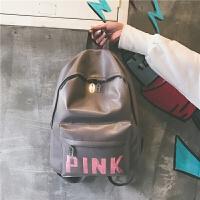 韩版新款双肩包女pu皮质学校学生书包休闲旅行背包百搭亮片字母潮