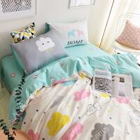 ins卡通简约纯棉四件套1.8m全棉儿童床上三件套1.5米2.0双人被套