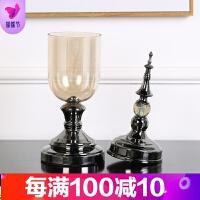家居客厅装饰品玻璃花瓶花器摆件仿真花欧式酒柜花瓶样板房间摆设