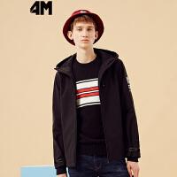 美特斯邦威旗下 4M夹克男士秋季新款抓绒内里保暖防风短款连帽外套