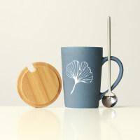 定制马克杯带盖勺大容量水杯创意简约雕刻陶瓷咖啡杯子情侣礼品杯
