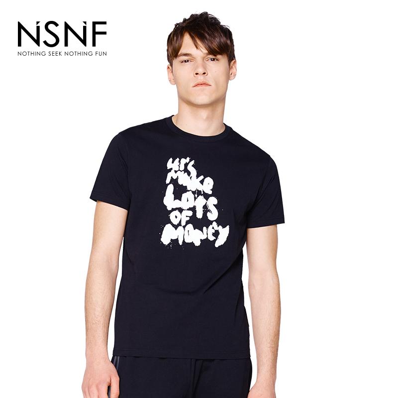 NSNF简约字母印花纯棉黑色修身男士T恤  男装短袖t恤2017新款 修身圆领针织短袖 当当自营 高品质设计师潮牌