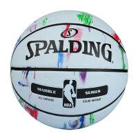 斯伯丁NBA篮球官方正品男大理石彩色印花耐磨室外7号橡胶球非真皮牛皮蓝球