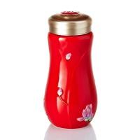 乾唐轩活瓷杯彩绘春暖花开随身杯双层隔热保温创意陶瓷杯水杯杯子