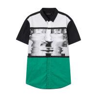 美特斯邦威短袖衬衫男士夏个性印花韩版纯棉舒适时尚衬衣青年
