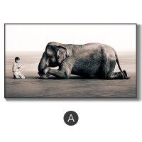 沙发背景墙装饰画客厅大气简约黑白禅意艺术画大象人物大幅北欧画