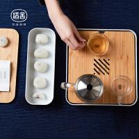 橙舍 新款偷闲茶盘 分离式茶点盘创意储水式茶海茶盘竹功夫茶具礼品套装