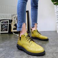 韩版18春季新款布洛克漆皮系带马丁靴机车靴短靴及踝靴平底鞋女鞋