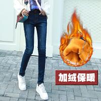加绒加厚牛仔裤女冬季弹力高腰新款加棉保暖韩版显瘦小脚裤子