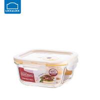 乐扣乐扣耐热玻璃保鲜盒带蒸汽孔长方形饭盒厨房冰箱微波炉 500ml LLG214T