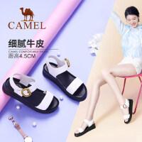 Camel/骆驼女鞋 2018夏季新款真皮厚底凉鞋舒适百搭平跟平底松糕鞋女