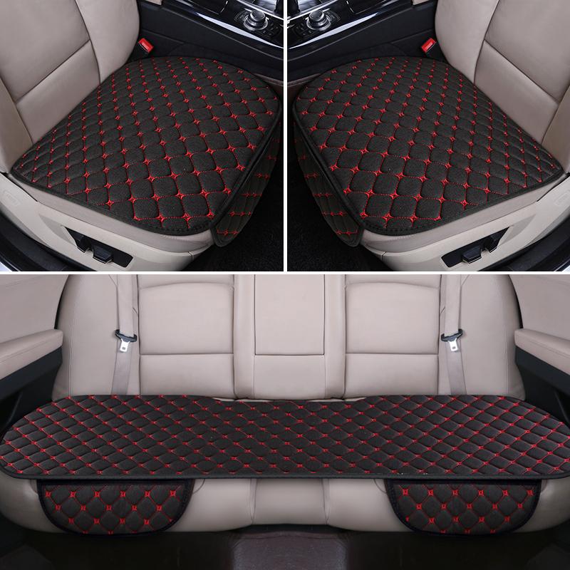 汽车坐垫防滑亚麻四季通用无靠背三件套夏季透气单片夏季座垫用品SN1188