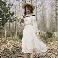 夏季新款女装日系软妹甜美雪纺荷叶边肩一字领裙长袖学生连衣裙