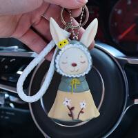 可爱小熊玩偶车钥匙扣娃娃机公仔钥匙圈环创意玩具编织绳铃铛挂件