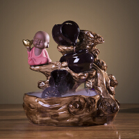 中式陶瓷流水摆件风水轮招财鱼缸办公室桌面喷泉客厅加湿器禅意