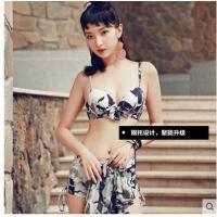 女贝迪斯新款性平角分体泳衣感印花大胸钢托遮肚显瘦