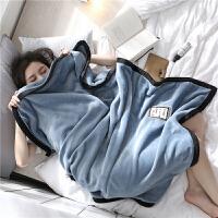 双层加厚法兰绒毛毯珊瑚绒毯子冬季儿童小被子办公室午睡毯盖腿毯