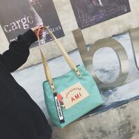 布袋小包链条包帆布包女水桶包帆布袋帆布包包女2018新款潮秋季韩版时尚百搭单肩斜挎包托特包