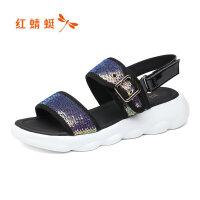 【红蜻蜓限时抢购,1件2折】红蜻蜓女鞋夏季新款百搭厚底松糕鞋魔术贴运动休闲凉鞋女