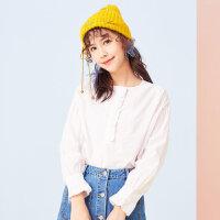 【618返场购,每满200减100】美特斯邦威衬衫女喇叭袖小清新2018春季新款甜美打底衬衫学生韩