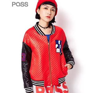 PASS潮牌秋装新款 时尚印花立领运动休闲棒球服短外套女6631412042