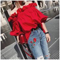 木耳边一字肩上衣宽松显瘦荷叶边一字领衬衫娃娃衫女春秋韩国新款 红色 均码