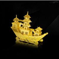 古式游船3D立体拼图全金属DIY拼装玩具益智礼物