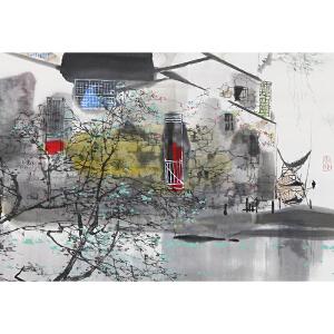 知名画家 刘 懋善 043【小镇风情 】纸本软片,边小破。品如图。