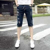 夏季薄款破洞七分牛仔裤男中裤修身小脚裤男士青年牛仔短裤男夏天