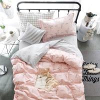 学生宿舍单人床单三件套 被套儿童床上用品 纯棉三件套1.2米床品 全工艺 素描
