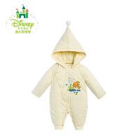 迪士尼Disney冬季新款婴儿连体衣婴儿外出服侧开带帽棉哈衣爬服154L666