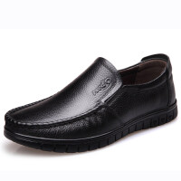 男士休闲皮鞋冬季父亲软底中老年人爸爸鞋子圆头透气牛皮男鞋 A8823 黑色 四季款
