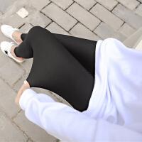 2018新款冰丝格纹打底裤女夏季薄款外穿防晒高腰弹力显瘦小脚裤大码九分裤