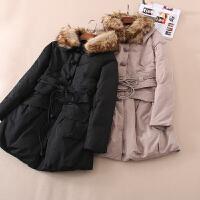 中式盘扣冬季修身显瘦宽腰带女士中长款大毛领羽绒服 WC3308