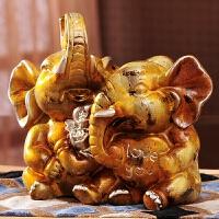 欧式奢华房间装饰客厅镇宅招财大象摆件创意新人礼品闺蜜结婚礼物 情侣大象