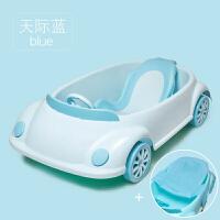 婴儿洗澡盆感温可坐躺带网新生儿宝宝洗澡盆初生儿通用多功能防滑 汽车浴盆-天际蓝-浴架+浴网 *品