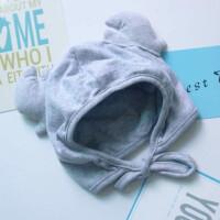 新生儿帽子婴儿护耳帽子3-6-12个月秋冬季男女宝宝帽子鹿角系带帽 46-48cm(主要看头围)