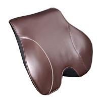 汽车腰靠垫记忆棉靠背护腰部支撑垫车用座椅腰垫真皮头枕腰靠套装