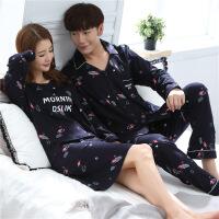 2套价 春秋季情侣睡衣长袖翻领韩版男家居服卡通女套装加大码