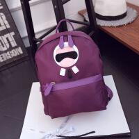 卡通女士双肩包 帆布牛津布卡通双肩包 韩版时尚学生背包 女式双肩包 紫色