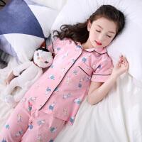 儿童睡衣夏季女童宝宝薄款夏天短袖女孩小孩亲子装家居服套装