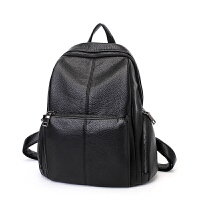 2018新款时尚韩版潮真皮女士双肩包女包简约休闲百搭软皮旅行背包SN9192 黑色